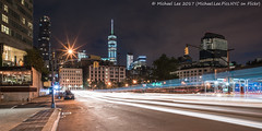 Lower Sixth Avenue (20170708-DSC07051-Edit) (Michael.Lee.Pics.NYC) Tags: newyork tribeca night onewtc worldtradecenter lowermanhattan sixthavenue 6thavenue canalstreet architecture cityscape traffictrail lighttrail sony a7rm2 zeissloxia21mmf28