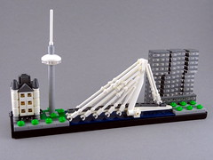 Rotterdam Skyline (Swan Dutchman) Tags: lego rotterdam skyline whitehouse wittehuis euromast erasmusbrug erasmusbridge derotterdam