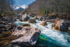 Gavarnie river (Arturs Barzdis) Tags: river mountains landscape gavarnie france travel rocks stream cascade water nature sunny day colors blue aqua flow falls trees scenery nikon d800e sigma 24105 art singh ray warming cpl