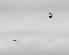 Airliner and Huey (ep_jhu) Tags: airplane avion airliner washington aircraft 7d cloudy helicopter huey sky uh1 canon dc bw jet