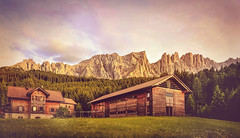 great and pure... (clo dallas) Tags: great pure mountain landscape italy wood chalet canon summer sunset scenic dolomites nature grass prato baite holz legno