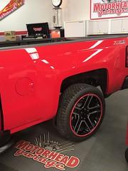 Red Chevrolet Silverado Red Gators (alloygator) Tags: redvehicle 22 chevrolet silverado motorheadgarage blackwheels red gators