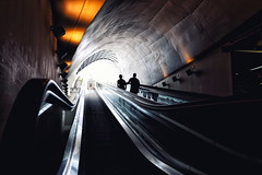 Up (*Chris van Dolleweerd*) Tags: street people light architecture chrisvandolleweerd color stairs streetphotography city motion speed silhouette tunnel tube escalator transportationsystem wideangle