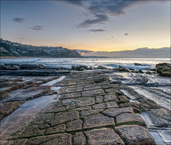 Where does this pavement end? (JustAddVignette) Tags: tessellatedpavement whalebeach australia firstlight landscapes newsouthwales northernbeaches ocean rocks seascape seawater sky sydney water waves