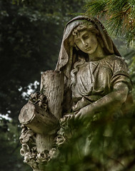 Angel in the rain (David DeCamp) Tags: statue sculpture religion tree spirtuality old history christianity monument art culture cemetery graveyard nikon nikond200 nikon50135mmf35