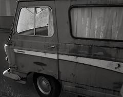 Morris, Portland (austin granger) Tags: morris portland j4 dormobile vintage 1964 windshield broken weathered time decay rust design camper curtains sidewalk windows door shattered sunset self film largeformat chamonix