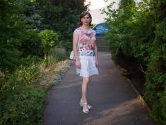 Summer afternoon (blackietv) Tags: casual white skirt tgirl transvestite crossdresser crossdressing transgender outside outdoor summer wedges purse handbag