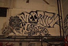 MORTY (TheGraffitiHunters) Tags: graffiti graff spray paint street art colorful trackside bando abandoned building wall mold dark morty skull floater ribbet