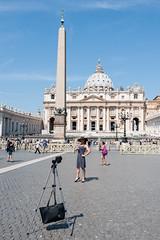 She (francesco_if ) Tags: she streetphotography saintpeter sanpietro square summer selfie blue rome italy people tripod nikon d3 colours ancient vaticancity