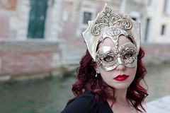 Silver Crown (elizunseelie) Tags: venice italy europe city travel pentax k5 portrait woman makeup silver mask carnival venetian canal water day costume traditional red head hair lips lipstick
