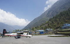 Lukla Aiport (Lenny K Photography) Tags: everest base camp trek lukla airport mountain plane airplane light commercial aircraft ebc sagarmatha national park nepal trekking walking sky cloud sony a7 2870mm