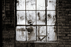 missing pane (fallsroad) Tags: abandoned tulsaoklahoma industrial warehouse factory blackandwhite bw decay window weathered