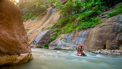 Leah and Amelia in the Narrows (tltichy) Tags: 2017 narrows zion amelia family gold green hiking leah location longexposure national nature orange outdoors outside park portrait rapids river singhray stream turquoise utah virginriver water