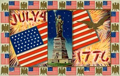 Fourth of July 1776 (Alan Mays) Tags: ephemera postcards greetingcards greetings cards paper printed independenceday fourthofjuly 4thofjuly july4 july4th 4th fourth holidays patriotic stars stripes flags 1776 statueofliberty ladyliberty women liberty eagles birds animals lightningbolts thunderbolts fireworks firecrackers explosions illustrations borders red white blue yellow gold 1910s antique old vintage typefaces type typography fonts 2172 series