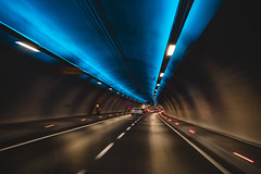 on the road (WeekendPlayer) Tags: tunnel drive road ontheroad light blue istanbul tr turkey city