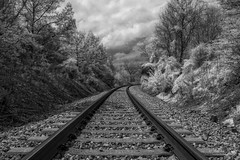 Just Around the Bend (John C. House) Tags: everydaymiracles nik spring nikon traintracks d70s knoxville johnchouse tennessee overcast blackandwhite monochrome infrared