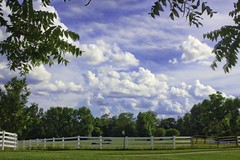 June Sky IMG_1100_HDR (ForestPath) Tags: summer sky clouds blue farm wintonwoods fence tree framed