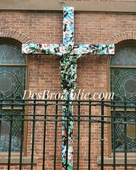 "Art piece ""Drink is the cross in have to bare"" (DesBphotos) Tags: newyork nyc newyorkcity art artist arts artwork abstract abstractart jesus cross crucifix crucifixion religion religious christian christ drink drinking beer bottles obscure manhattan church chapel"