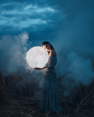 The Moon Is Down (Adam Bird Photography) Tags: adambirdphotography adambird timwalker moon light field night conceptual surreal fineart fashion model blue sky colour flickr explore