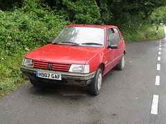 Peugeot 205 Trio Plus #1 (occama) Tags: h907gaf 1990 peugeot 205 trio plus old car cornwall uk red cornish french dumped abandoned broken