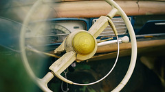 Peugeot patina (Eric Flexyourhead (catching up)) Tags: northvancouver canada britishcolumbia bc waterfrontpark 2017 italianfrenchcarbikefestival french car peugeot old weathered worn patina interior steeringwheel 169 sonyalphaa7 zeisssonnartfe55mmf18za zeiss 55mmf18