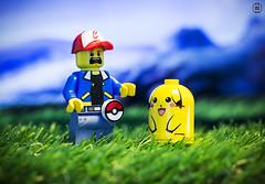 Fat Pikachu (jezbags) Tags: lego legos toys toy minifigure minifigures macro macrophotography macrodreams macrolego canon60d canon closeup upclose 60d 100mm pokemon pikachu fat grass scared shocked