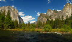 Valley View (michael_e437) Tags: valleyview classicvalleyview yosemite yosemitenationalpark favoritespot merced mercedriver elcapitan cathedralspires granite bridevailfalls water mountains bluesky clouds rapids whitewater highwater flooding coldwater sierranevada halfdome california summersnow pines pinebarkbeetle nakedface