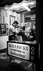 Barbershop (Janne Räkköläinen) Tags: fringe adelaide australia barber barbershop hair badhairday blackwhite bw bnw park urban outside cityview citylife streetphotographing streetlife service photographing picoftheday parturi retro mavericks cutting scissors out fujifilm fuji x70 fujifilmx70