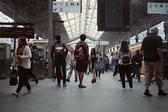 "Railway station candid. (35mm) | Exp. 05/2001 Kodak Kodacolor 200. (samuel.musungayi) Tags: film analog argentique pellicule pelicula 135 35mm 24x36 vintage objectif photography photographie fotografia samuel musungayi samuelmusungayi ""samuel musungayi"" exploration love light life travel explore negatif negativo scan focal focale opo porto portugal scene candid street people kodak kodacolor 200 yashica t5 expired compact urban city"