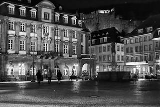 Heidelberg, Marktplatz (B&W)