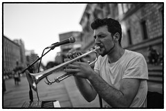 BOSTON, MA 2017 (leica541) Tags: leica m10 summilux asph 35 35mm rangefinder music street funk soul trumpet horn copley square young youth urban portrait face hands summer boston sounds sound hustle hustler beauty unposed candid black white monochrome monochrom photojournalism streetphotography streetportrait