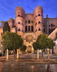 Malaga Cathedral in the Morning, Malaga, Andalusia, Spain (ansharphoto) Tags: ancient andalucia andalusia architecture belfry blue building cathedral catholic church city cityscape dawn decorative europe european exterior facade famous garden gate green historic historical illuminated landmark lights malaga mandarin marble mediterranean morning night old orange religion religious sky skyline spain spanish stonework tourism tower town townscape travel tree twilight urban