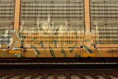 RIVER (TheGraffitiHunters) Tags: graffiti graff spray paint street art colorful freight train tracks benching benched racks autoracks river