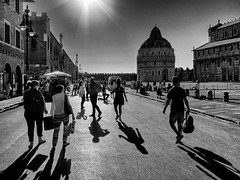Shadows.... (Lupogrande25) Tags: blackandwhite people street pisa tuscany italy shadows backlights canonpowershots90