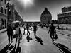 Shadows.... (Lupogrande25) Tags: blackandwhite people street pisa tuscany italy shadows backlights canonpowershots90