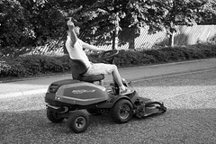 Lawnmower Man (avaird44) Tags: lawnmower maud scotland street speeding finger fast bw blackandwhite monochrome