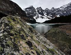 Moraine lake (lake louise) (drafiei1) Tags: lakelouise lake mountain mountains ice snow snowcovered boulders water melting melt banffnationalpark landscape outdoor nature banff jasper scenery scene wide