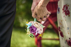 Entwine (flashfix) Tags: june212017 2017inphotos ottawa ontario canada canon canoneos5dmarkii 5dmarkii bokeh nature mothernature 100mm wedding hands bouquet origami roses lily paper handmade origamibyscott green red dress ottawaweddingchapel flashfix flashfixphotography