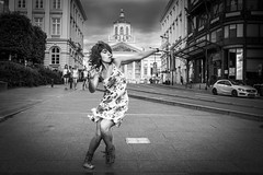 Marina's flow and the happy girls (jorgedcar) Tags: women dance street bw brussels outdoors