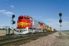 ATSF 209 West at Gonzales, NM (thechief500) Tags: atsf bnsf gallupsubdivision railroads santaferailway atchisontopekaandsantafe nm newmexico warbonnet