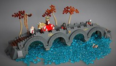 Crossing the bridge (adde51) Tags: adde51 lego moc arch architecture stone summer joust 2017 bridge intrepid expedition crossing water drowning midieval king soldiers soldier stream foitsop