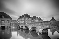 Mirrored Castle Bridge (frank_w_aus_l) Tags: nordkirchen castle bw monochrome contrast tiltandshift pce reflection bridge longexposure nikon d800 nordrheinwestfalen deutschland de