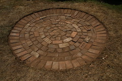 Hearth (brightasafig) Tags: mesolithic fireplace lawn grass stoneage ancient monument brick circle hearth prehistory polska concentric ring