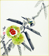 Japanese chestnut and tit (Japanese Flower and Bird Art) Tags: flower chestnut castanea crenata fagaceae bird tit paridae isao akita nihonga shikishi japan japanese art readercollection