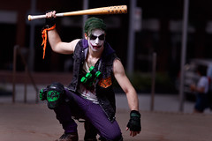 They-call-him_TheJoker_001 (Besisika) Tags: montreal comic con 2017 joker dark night character cosplay manga cosplayer magent green strobe flash ocf outdoor portrait violence canon 135mm