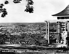 14 Jul 1943 - Rare Real Photo Card - Circa 1930s - No. 2 - Brisbane from Mt. Coot-tha, Queensland, Australia (aussiejeff) Tags: 1943 realphotocard rpc rppc no2 brisbane mtcoottha queensland australia mountcoottha lookout suburb toowong city cityhall clockbelltower greystbridge valentinessnapshots tombeazley bnw bw blackandwhite historic antique vintage old chapelhill jeffc aussiejeff