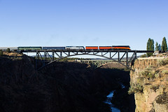 Cascades Daylight Crossing The Crooked River (PNW Rails Photography) Tags: terrebonne oregon unitedstates crooked river bridge railroad sp 4449 southern pacific cascades daylight trunk subdivision bnsf jefferson county steam locomotive lima gs4 train railfanning