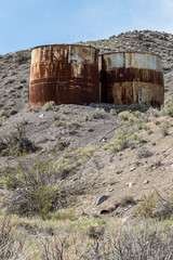 More Tanks (string_bass_dave) Tags: ca california deathvalley flickr nationalpark unitedstates abandoned crusty pipe rust rusty steel tank