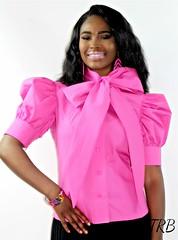 ShortPuffySleeveBlouse-2 (VeronArmon) Tags: bow blouse tie silk satin models pink red black beautiful cute model woman lady puffy sleeve office strict formal secretary airline stewardess