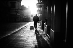 A reputation for being onery. (ewitsoe) Tags: monochrome blackandwhite man walking sun lit light grain morning sunny spring poznan poland stores empty street bird walk pedestrian cityscape urban ewitsoe sidewalk contrast love beauty sunset broken white lights shadows holiday travel visit tourist